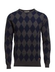 Intrasia knitted crewneck pull in two tone coloured - dessin C
