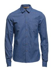 Cotton/melange longsleeve shirt in different dessins - 530 worker blue melange