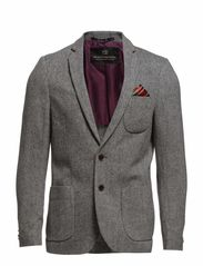 Woolen tweed blazer with pop lining, Sold with pochet - dessin A