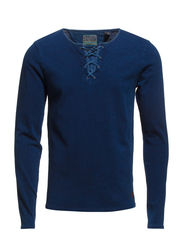 Longsleeve indigo tee with drawcord closure - 51 indigo