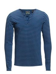 Longsleeve indigo tee with drawcord closure - dessin C