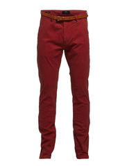 Slim fit cotton/elastan garment dyed chino pant, Stuart - 31 brick