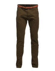 Slim fit cotton/elastan garment dyed chino pant, Stuart - 66 army