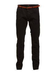 Slim fit cotton/elastan garment dyed chino pant, Stuart - 90 black
