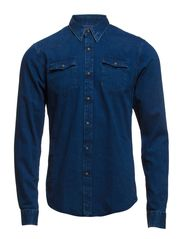 Lightweight denim western longsleeve shirt - dessin C