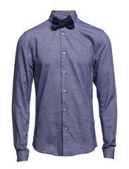 Longleeve party shirt in different weave structures - 37 cobalt