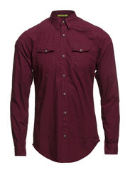 Western style longsleeve shirt with special washing - 23 bordeaux