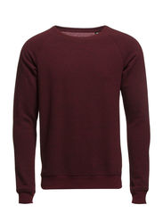 Crewneck raglan sweat in brushed melange felpa - 340 cranberry melange