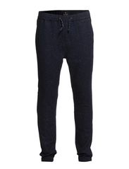 Chino pant in stretch wool quality with elastic hem detail - 580 night melange