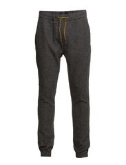 Chino pant in stretch wool quality with elastic hem detail - 960 charcoal melange