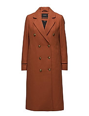 Long wool captain's coat with piping details - CINNAMON