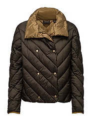 Nylon double breasted quilted jacket - ARMY