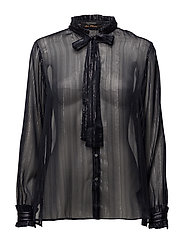 Sheer lurex ruffle blouse with neck tie - NIGHT