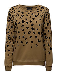 Relaxed fit open neck sweat with allover flock pattern - OLIVE