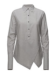 Cotton shirt with angled hem and press button detail - COMBO S
