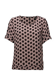 Silky feel printed blouse with ladder tape detail - COMBO A