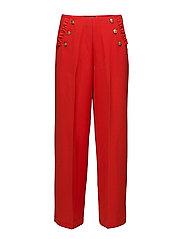 Drapey sailor pant with ruffle pocket detail - CRIMSON