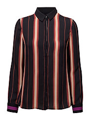 Silky feel button up shirt in stripe or colour block - COMBO S