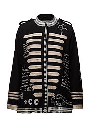 Wool captain's jacket with embroidered scribbles - BLACK