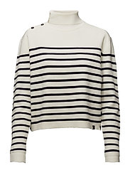 High neck knitted sailor top with button details - COMBO B