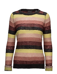 Soft striped crew neck pullover knit - COMBO B