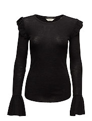 Long sleeve wool top with ruffles - BLACK