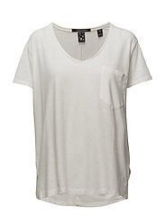 Basic slub v-neck tee with pocket - OFF WHITE