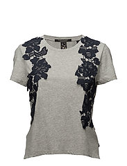 Short sleeve boxy fit tee with lace appliqué - GREY MELANGE