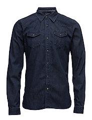 Ams Blauw classic western shirt in regular fit - MIDNIGHT