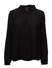Long sleeve top in soft dobby quality with ruffle neckline - BLACK