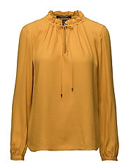 Long sleeve top in soft dobby quality with ruffle neckline - HONEY