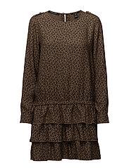 Silky feel drop waist dress with ruffle skirt - COMBO A