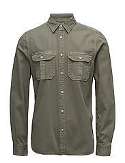 Oversized garment dyed workwear shirt - 0J MILITARY GREEN