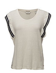 Scotch  &  Soda - Tee In Special Jersey With Ruffle Sleeve