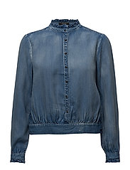 Tencel top with ruffles and denim detailing - 51 INDIGO