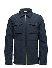 Classic quilted shirt jacket - STEEL