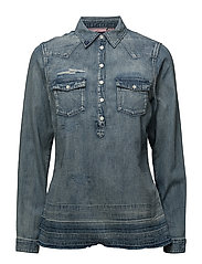 Denim blouse with over-dye - 51 INDIGO