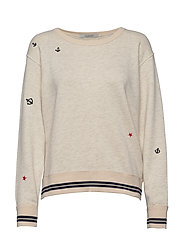 Vintage inspired sweat with small embroideries - 0B ECRU MELANGE