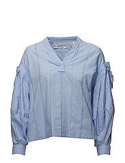 V-neck cotton top - SKY BLUE