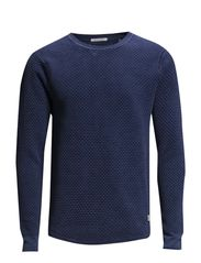 Powder washed crewneck pull. - 53 worker blue