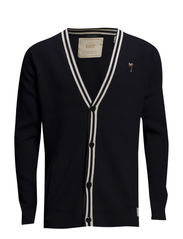 Clean cardigan shawl collar with stripes at edge. - 58 night