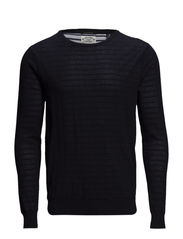 Double layer mesh & flatknit crewneck pull. - dessin A