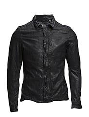 Washed short leather jacket. - 48 denim blue