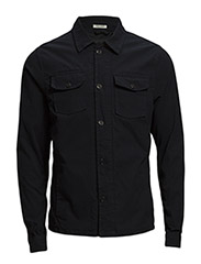 Shirt jacket in comfort stretch canvas. - 93 black rock