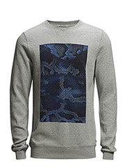 Crewneck sweat with big chest artwork. - 970 grey melange