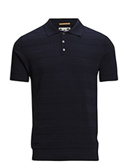 Structure knitted polo in mercerized cotton. - 57 navy