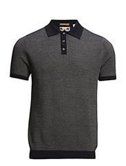 Structure knitted polo in mercerized cotton. - dessin B