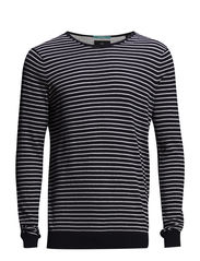 Classic high twist cotton melange crewneck pull. - dessin B