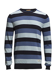 Lightweight striped crewneck pull. - dessin D