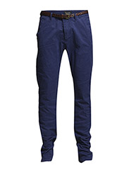 Basic garment dyed chino. Slim fit - Stuart. Sold with belt. - 37 cobalt